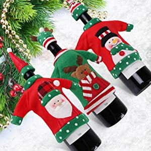 Aytai 3pcs Ugly Sweater Christmas Wine Bottle Cover, Holiday Wine Bottle Sweaters Cover for Ugly Christmas Sweater Party Decorations
