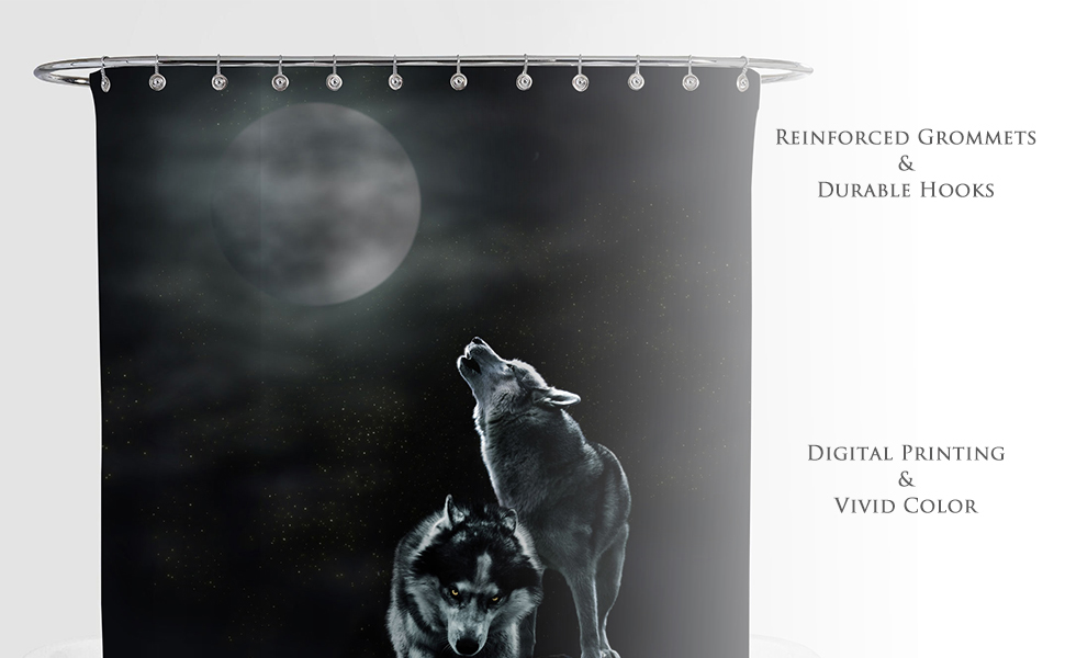 Wolves Howling in the Dark Night with Full Moon Shower Curtain