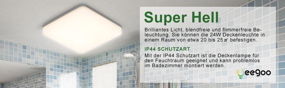 LED Deckenleuchte Bad, IP44 Deckenlampe Badleuchte 24W