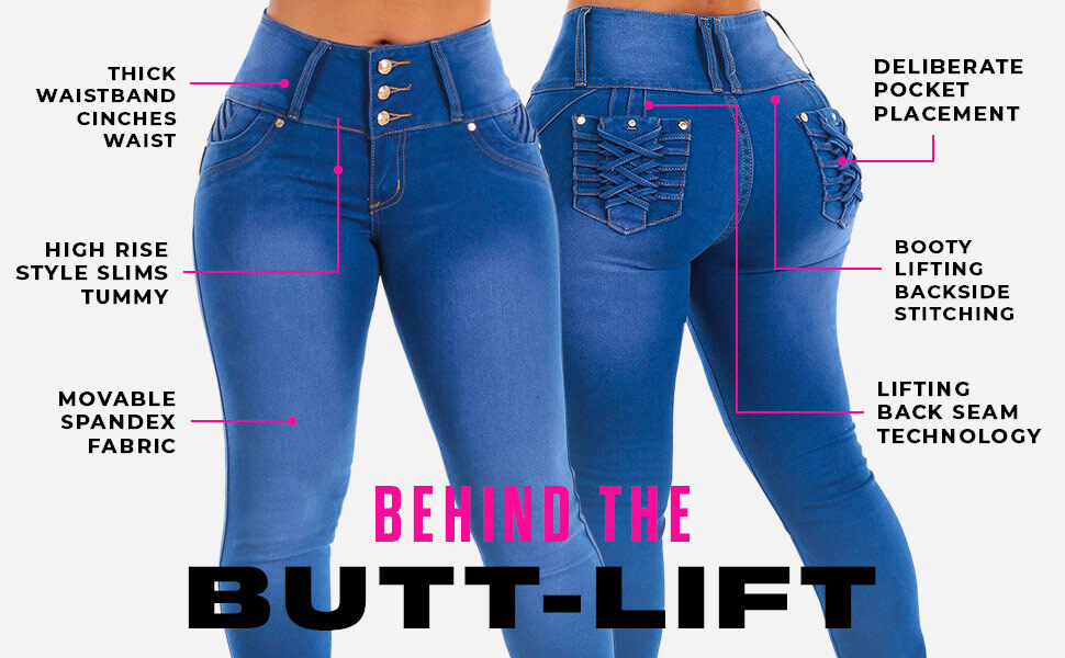 Butt Lifting Levanta Cola Stretchy Womens Jeans by Moda Xpress