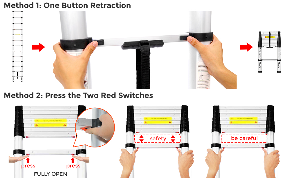 ohuhu telescopic ladder one button retraction