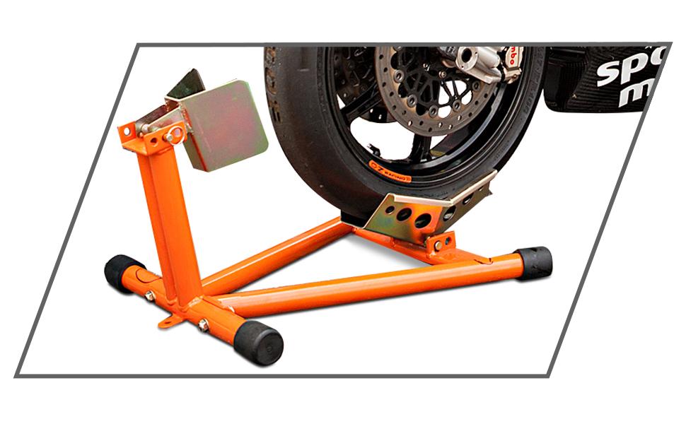 Hi Q Tools Montageständer Motorrad Ständer Motorradheber Vorderradständer Wippe Einfaches Abstellen Des Fahrzeuges Ideal Für Den Transport Fester Stand Orange Einstellbar Für Fast Alle Rad Reifengrößen Auto