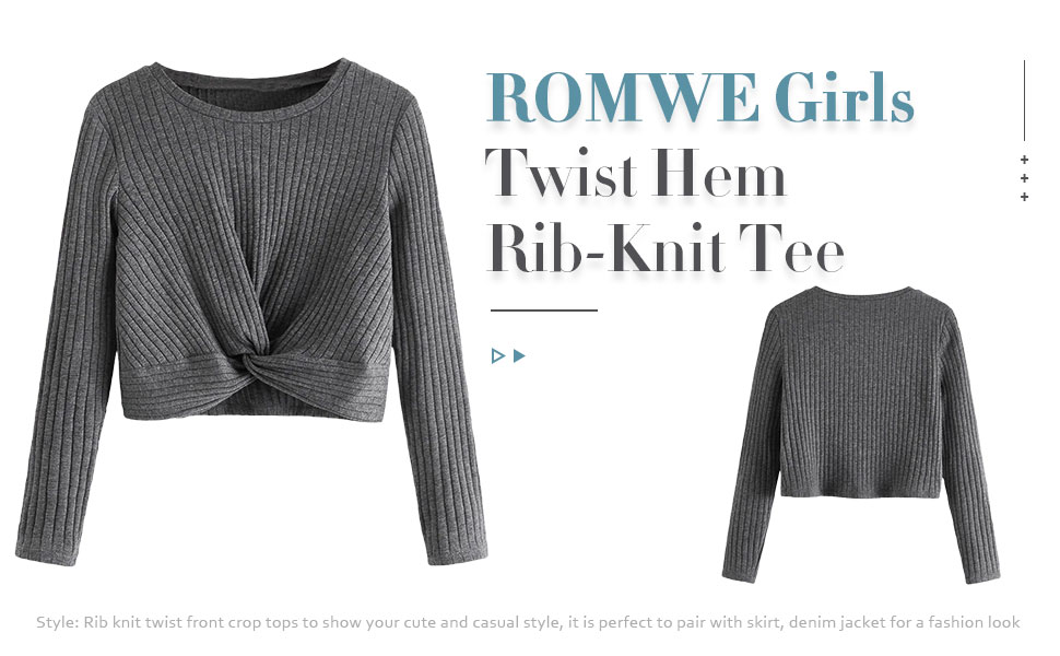 Romwe Girls Ribbed Long Sleeve Crop Tops and Plaid Pencil Skirt Sets Outfit