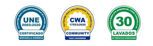 Certificados UNE0065:2020 - CWA 17553:2020 y apta para 30 lavados