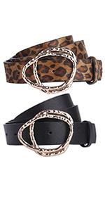 leopard leather belts