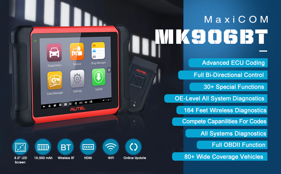Amazon.com: Autel MaxiCOM MK906BT with MV108 (Same as MaxiSys MS906BT,  MS908), 2021 Newest Automotive Diagnostic Scan Tool with Active Test,  Advanced ECU Coding, 31 Services, OE-Level Full Systems Diagnostics:  Automotive