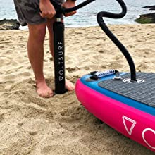 voltsurf inflatable paddleboard isup hand pump reversible dual action hose