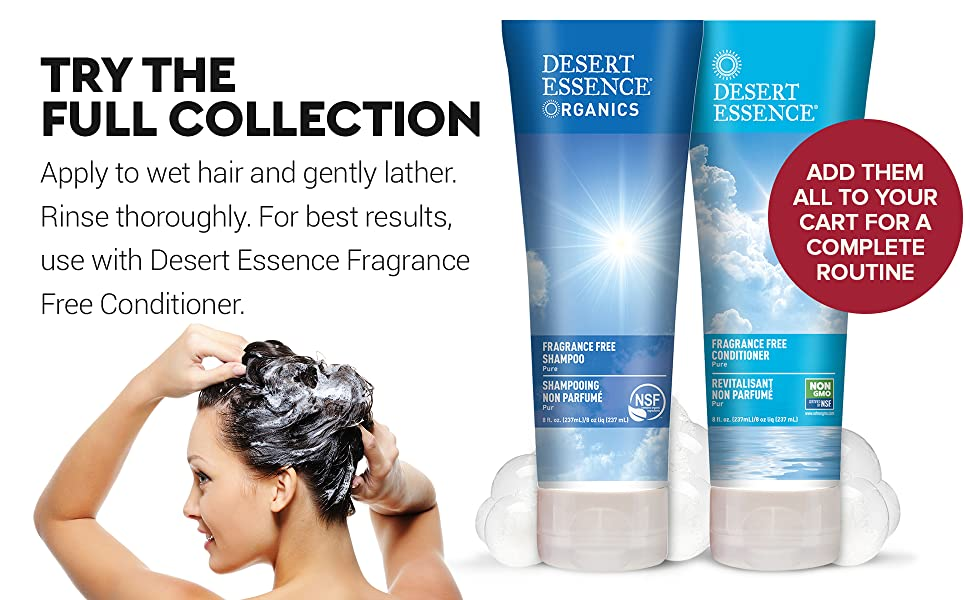 Desert Essence Fragrance Free Shampoo and Conditioner,Unscented Shampoo Conditioner,