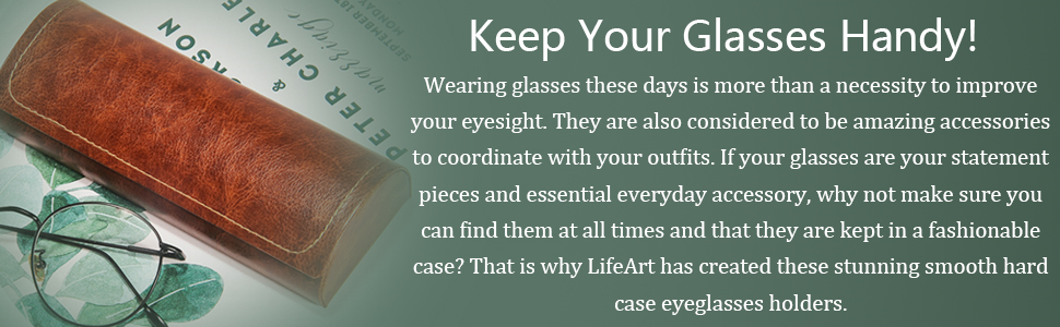 LifeArt Hard Shell Eyeglasses Case Portable Classic Leather Sunglasses Case Magnetic Closure