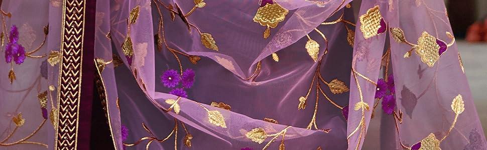 dupatta net embroidered golden design