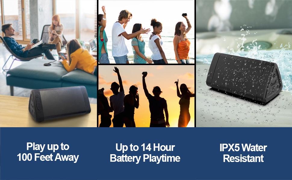 OontZ Angle 3 bluetooth speaker IPX5 water resistant, 14 hrs playtime, 100 ft wireless range speaker
