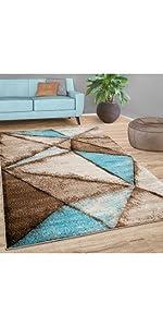 rug blue brown teal