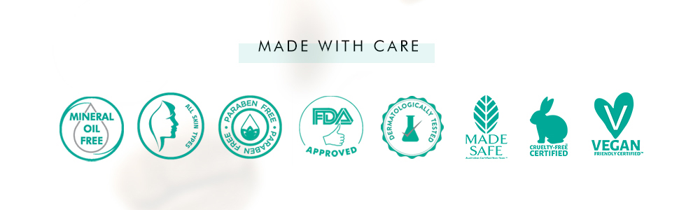 made with care SLS free Paraben free FDA approved vegan dermatologically tested cruelty free
