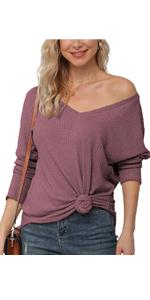 IWOLLENCE Womens Casual Waffle Knit Shirts
