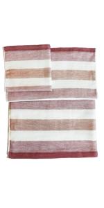 IPPINKA Senshu Japanese Towel, Set of 3 Sizes, Ultra Soft, Quick-Drying, Two-Tone Stripes, Red