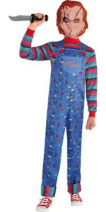 Chucky horror halloween character killer murderer scary movie boys costume one piece jumpsuit scare