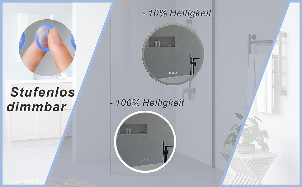 Badezimmerspiegel Rund Spiegel mit LED Licht für Bad 60cm JALTAS Typ C