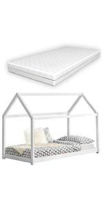 Lit cabane forme maison Netstal pin pour enfants 80x160cm blanc matelas mousse à froid