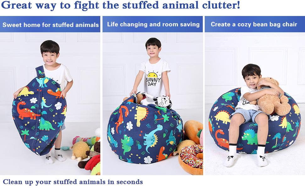 stuffed animal storage bean bag