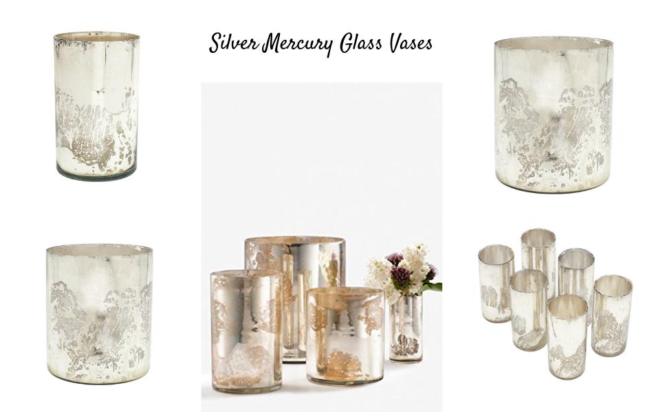 Silver Mercury Glass Vases cum Votive Holders for Parties Weddings Restaurants Spa