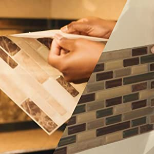 peel and stick on the wall, smart tiles art3d tiles