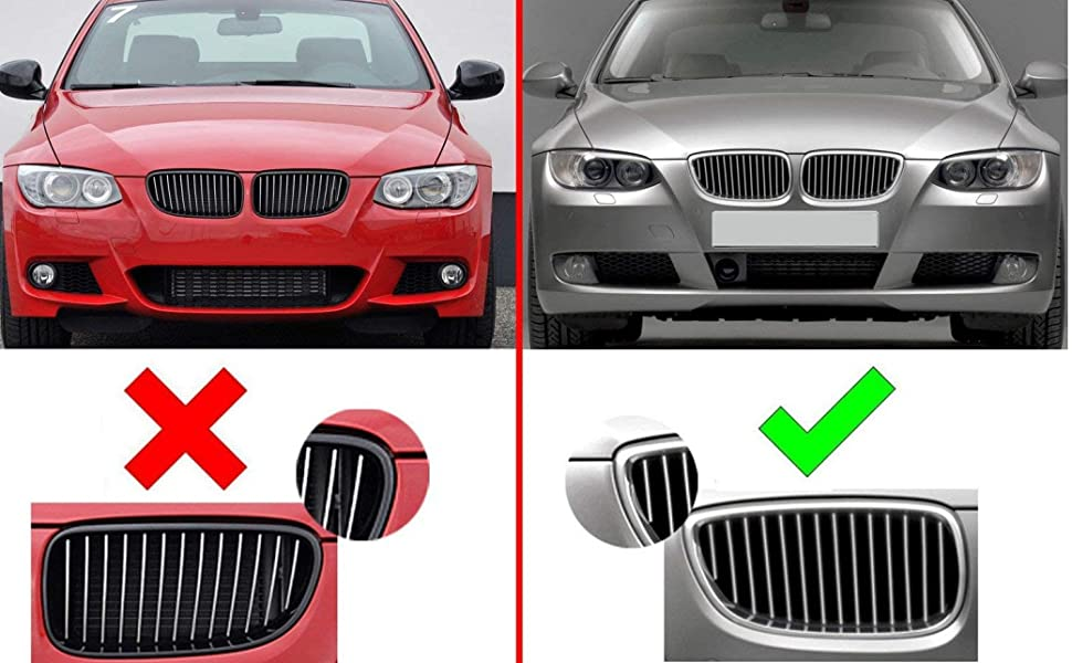iJDMTOY Exact Fit //////M-Colored Grille Insert Trims Compatible With 2007-2010 BMW E92//E93 Pre-LCI 3 Series 2-Door Coupe 325i 328i 330i 335i with 14-Beam ONLY