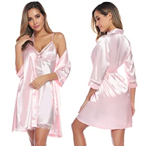 Aibrou Womens Satin Sleepwear 2 Piece Set Lace Cami Nightgown and Robe
