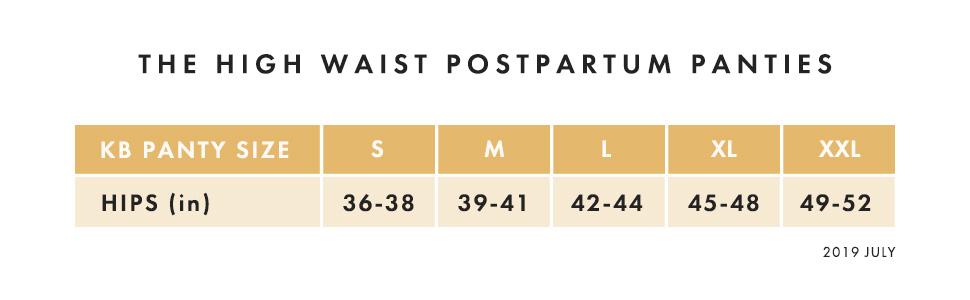Postpartum Panty size chart