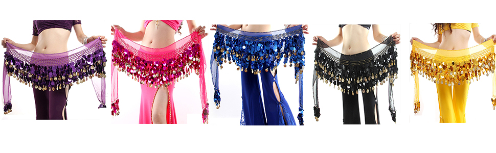 ROPALIA Womens Belly Dance Scarf Performance Bling Sequins Coins Hip Scarfs