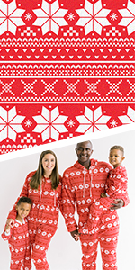 Detail image of Christmas family matching pajamas.