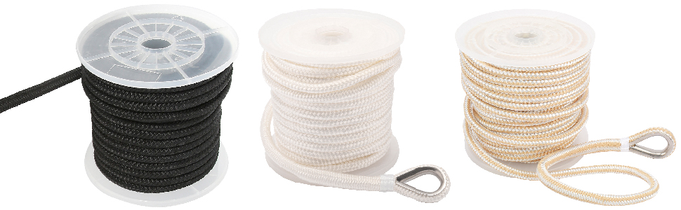 NovelBee 1/2 Inch X 100 Feet Double Braid Nylon Anchor Line with Stainless Steel Thimble and Chuck