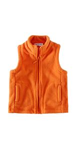 Kids Solid  Zipper Fleece Vests