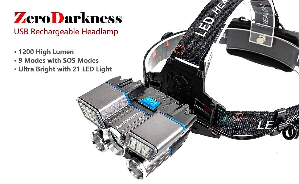 ZeroDarkness USB Rechargeable Headlamp