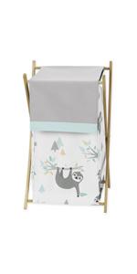 Sweet Jojo Designs Blue and Grey Jungle Sloth Leaf Baby Kid Clothes Laundry Hamper