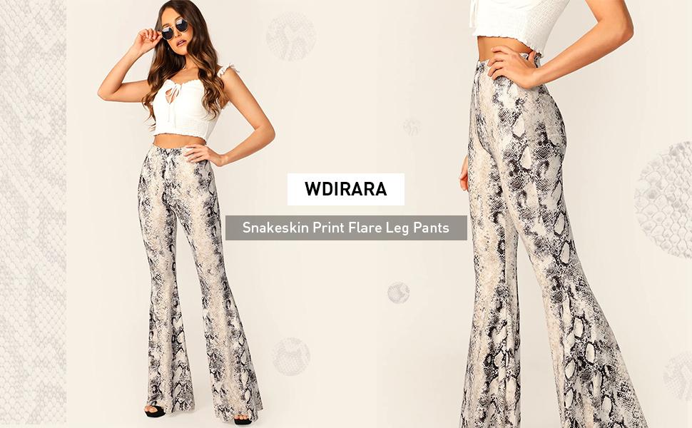 WDIRARA Womens Snakeskin High Waist Casual Flare Bell Bottom Stretch Long Pants