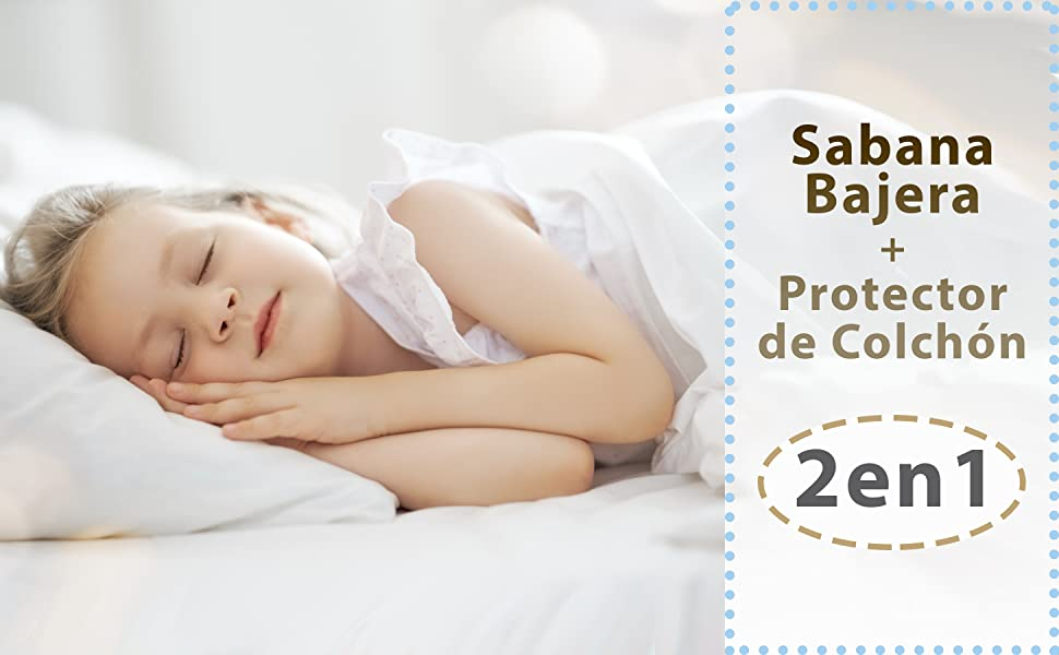bisoo - 70x140 cm - Protector de Colchón Bebé + Sabana Bajera - 2en1 - Set de 2 Sabanas Protectoras Impermeables y Transpirables de Algodón - Maxicuna