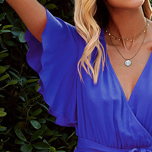 V-neck Solid color Loose Style Sexy Split on side Summer beach dress