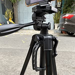 mobile clip mounting above tripod stand holder for phone camera makeup parlor studio film industry