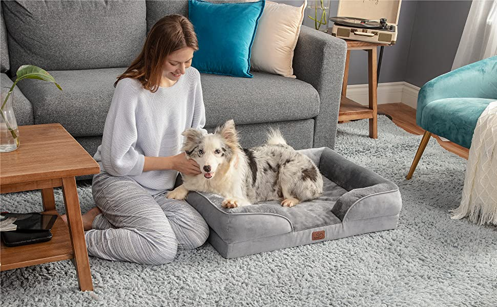 a dog on the Bedsure Orthopedic Dog Bed, Foam Sofa with Removable Washable Cover