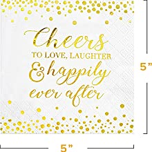 gold foil cocktail cheers to love laughter and happily ever after napkins 50 count soft absorbent