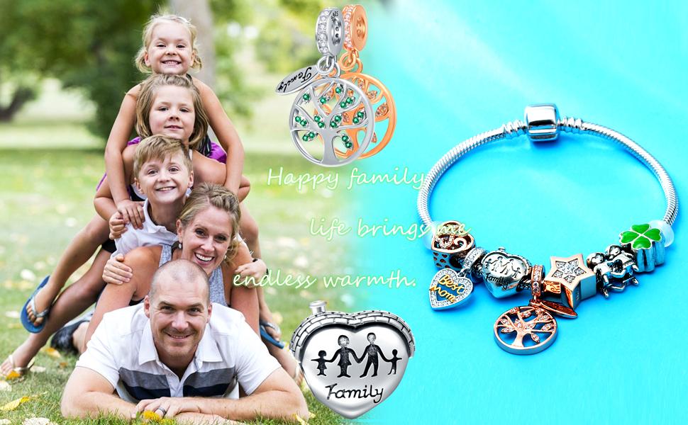 EMOSTAR Sterling Silver Family Charm fits Pandora Women Bracelet