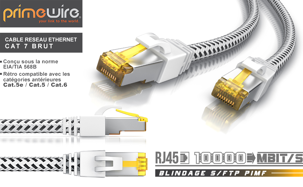 303616 Câble CAT 7 tissue Blanc