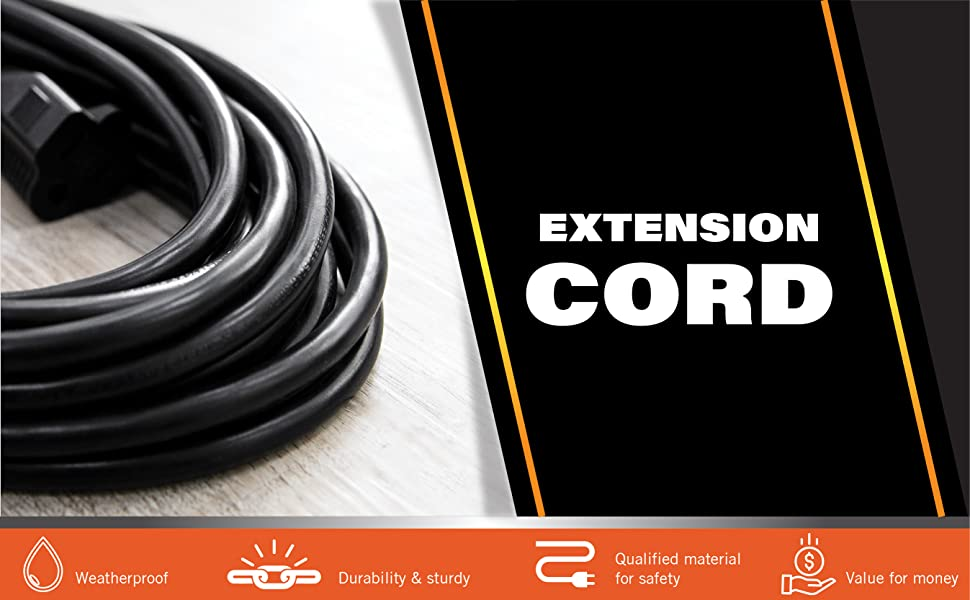 compact extension cord flexible cord short cord black indoor outdoor christmas weatherproof multi