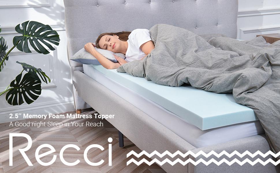 recci gel memory foam mattress topper