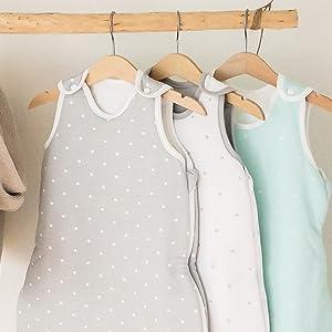 Ehrenkind/® Baby Sommerschlafsack Rund Sommer Schlafsack Baby Gr Bio-Baumwolle 50//56 Farbe Grau mit wei/ßen Punkten
