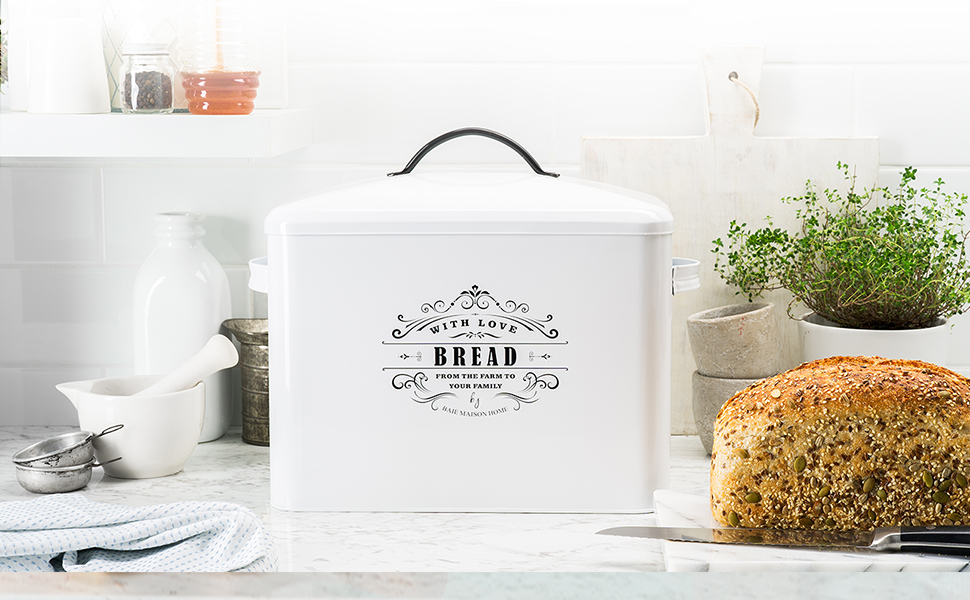 Amazon Com Extra Large White Bread Box Bread Boxes For Kitchen Counter Holds 2 Loaves For All Your Bread Storage Bread Container Counter Organizer To Suit Farmhouse Kitchen Decor Vintage Kitchen