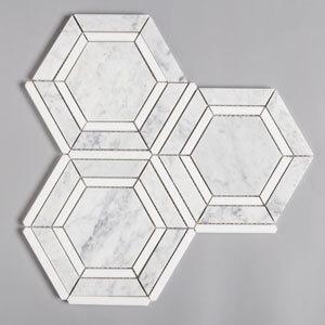 carrara thassos white hexagon marble mosaic tile-1