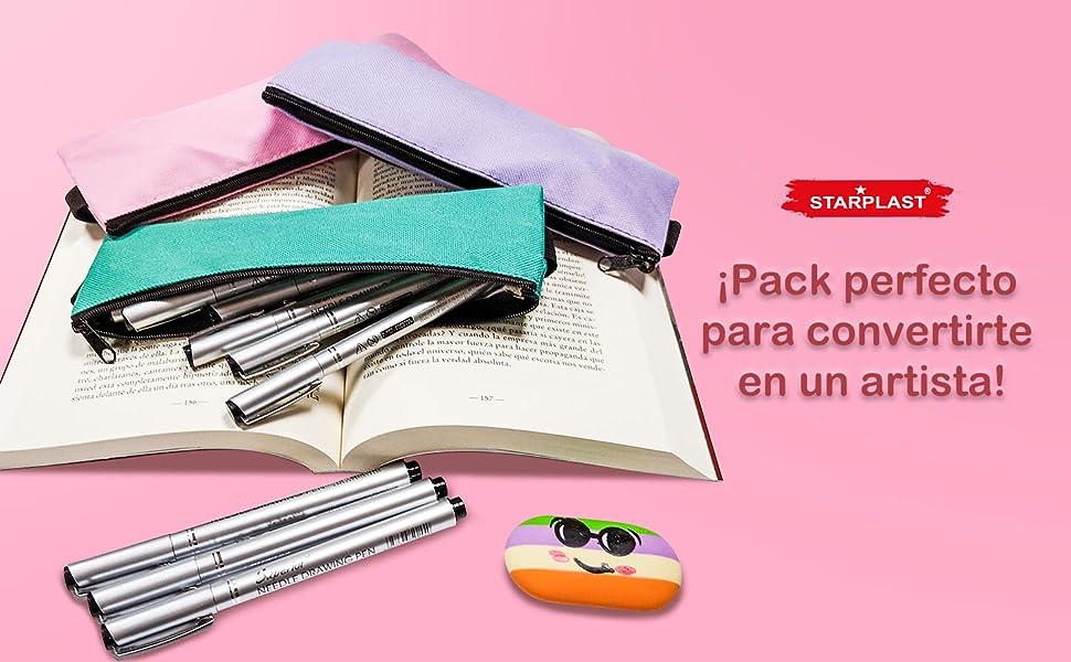 Starplast 2 Pack Bloc Acuarela A3, A4, 20 Hojas, 160gr, 6 Plumas Dibujo, Plumas Punta Fina (0.05, 0.2, 0.4, 0.6, 0.8, 2.0mm), para Ilustración, Comic, Manga, Pintar, Colorear, Dibujar, etc.: Amazon.es: Hogar