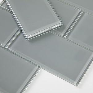 Soulscrafts Glass Subway Tile for Kitchen Backsplash Bathroom Shower Wall 3 x 6 Inch True Grey