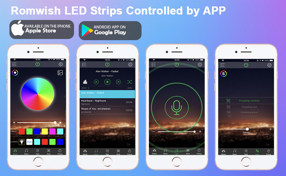 led strip lights app control